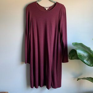 Cato Maroon Long Sleeve Lined Knee-Length Dress M